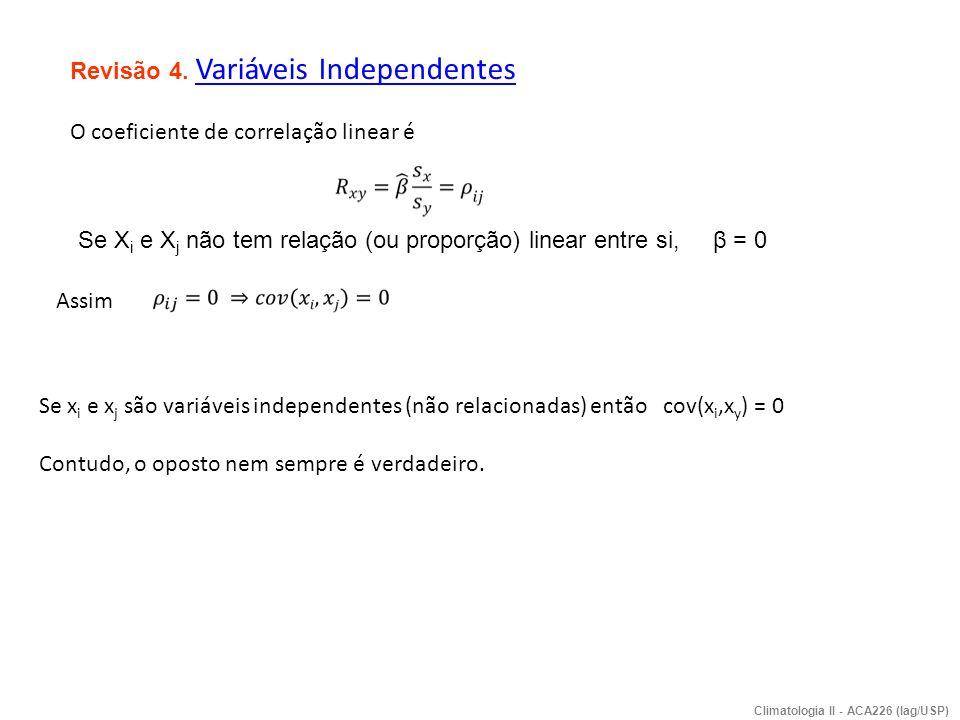 Revisão 4. Variáveis Independentes O coeficiente de correlação linear é Assim Se x i e x j são variáveis independentes (não relacionadas) então cov(x