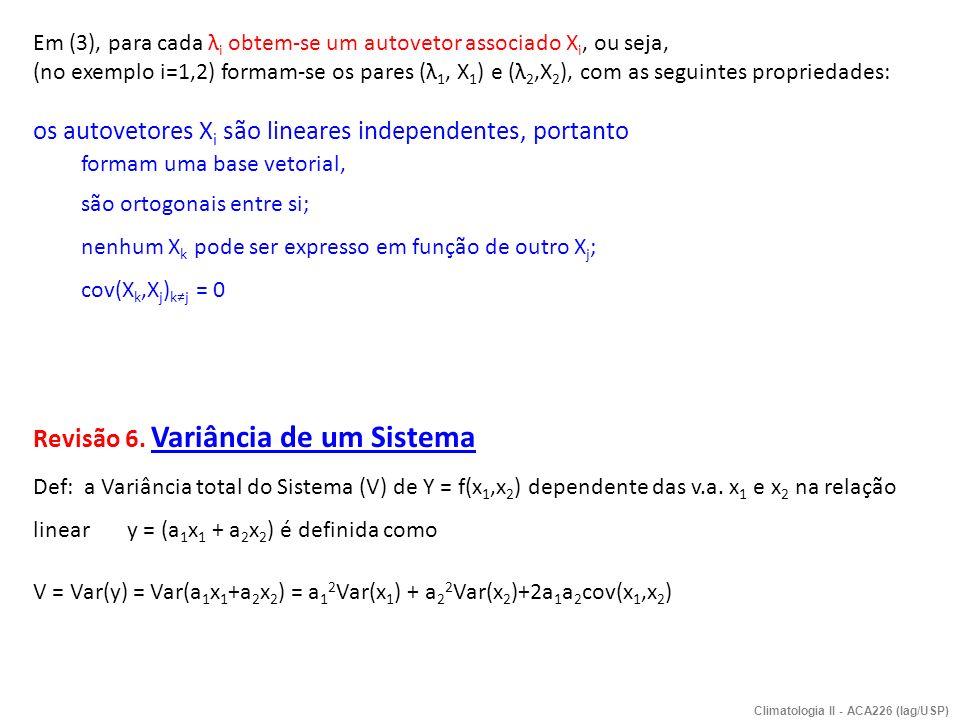 Em (3), para cada λ i obtem-se um autovetor associado X i, ou seja, (no exemplo i=1,2) formam-se os pares (λ 1, X 1 ) e (λ 2,X 2 ), com as seguintes p