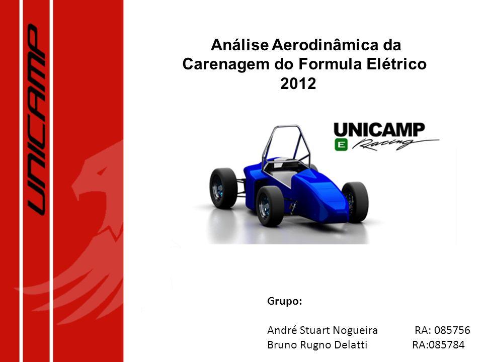 Análise Aerodinâmica da Carenagem do Formula Elétrico 2012 Grupo: André Stuart Nogueira RA: 085756 Bruno Rugno Delatti RA:085784