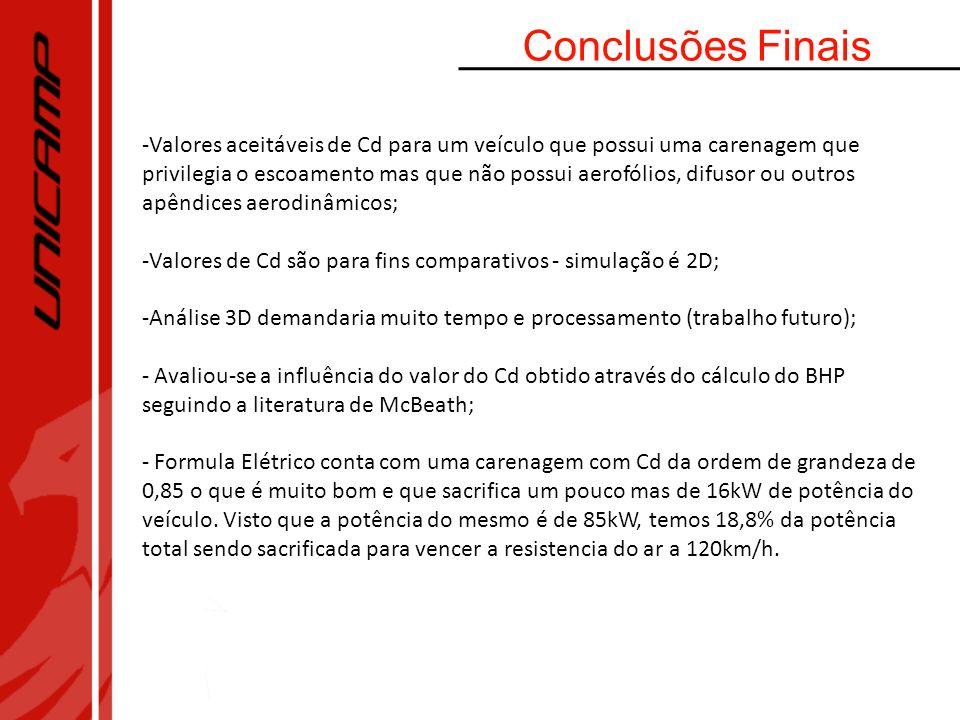 Conclusões Finais -Valores aceitáveis de Cd para um veículo que possui uma carenagem que privilegia o escoamento mas que não possui aerofólios, difuso