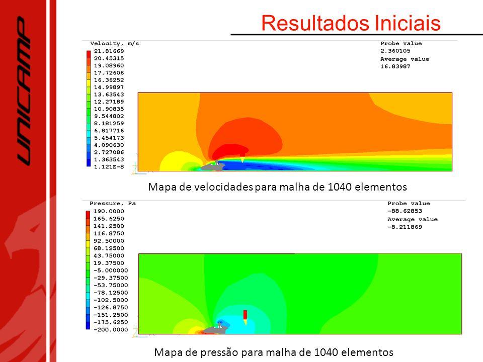Mapa de velocidades para malha de 1040 elementos Mapa de pressão para malha de 1040 elementos Resultados Iniciais