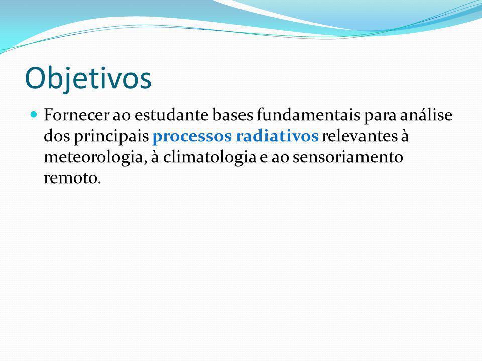 Objetivos Fornecer ao estudante bases fundamentais para análise dos principais processos radiativos relevantes à meteorologia, à climatologia e ao sensoriamento remoto.