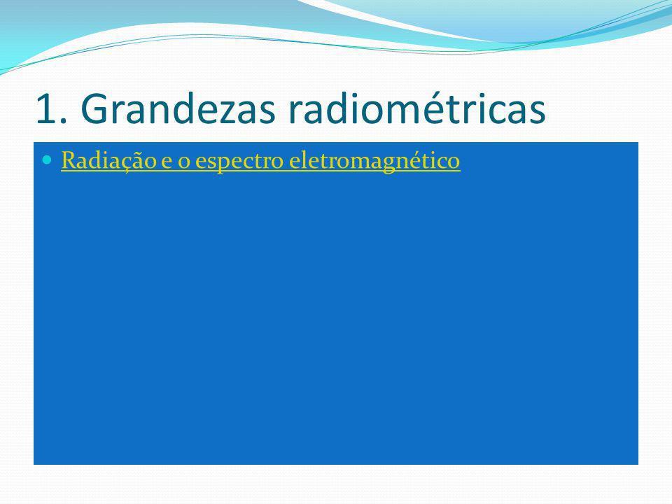 1. Grandezas radiométricas Radiação e o espectro eletromagnético