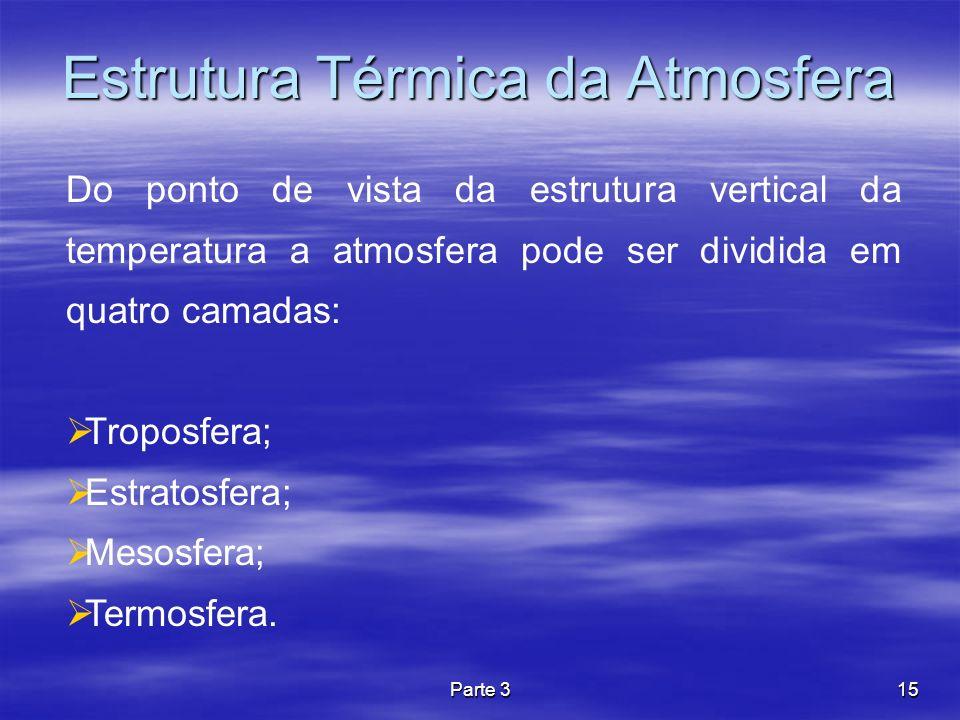 Parte 315 Estrutura Térmica da Atmosfera Do ponto de vista da estrutura vertical da temperatura a atmosfera pode ser dividida em quatro camadas: Tropo