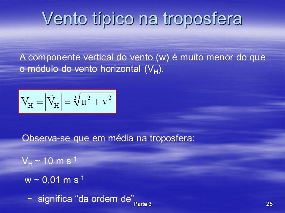 Parte 325 Vento típico na troposfera A componente vertical do vento (w) é muito menor do que o módulo do vento horizontal (V H ). Observa-se que em mé