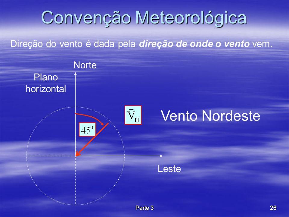 Parte 326 Convenção Meteorológica Direção do vento é dada pela direção de onde o vento vem. Leste Norte Plano horizontal Vento Nordeste