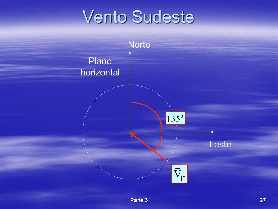 Parte 327 Vento Sudeste Leste Norte Plano horizontal