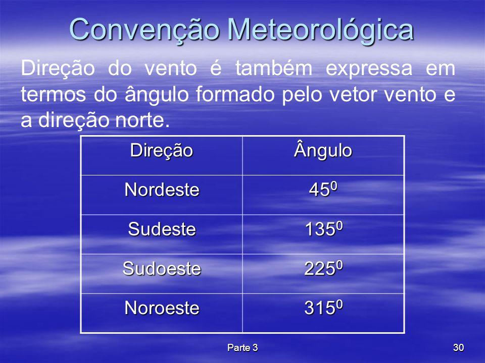 Parte 330 Convenção Meteorológica Direção do vento é também expressa em termos do ângulo formado pelo vetor vento e a direção norte. DireçãoÂngulo Nor