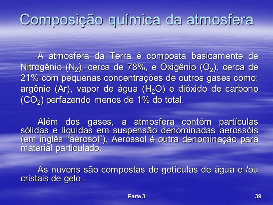 Parte 339 Composição química da atmosfera A atmosfera da Terra é composta basicamente de Nitrogênio (N 2 ), cerca de 78%, e Oxigênio (O 2 ), cerca de