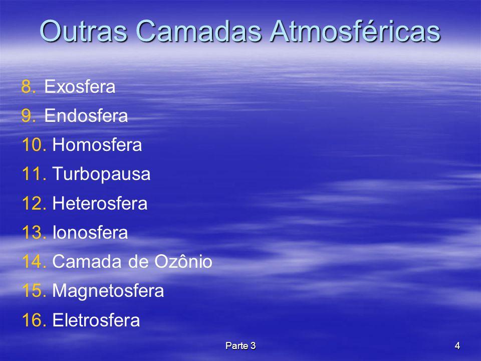 Parte 34 Outras Camadas Atmosféricas 8. Exosfera 9. Endosfera 10. Homosfera 11. Turbopausa 12. Heterosfera 13. Ionosfera 14. Camada de Ozônio 15. Magn