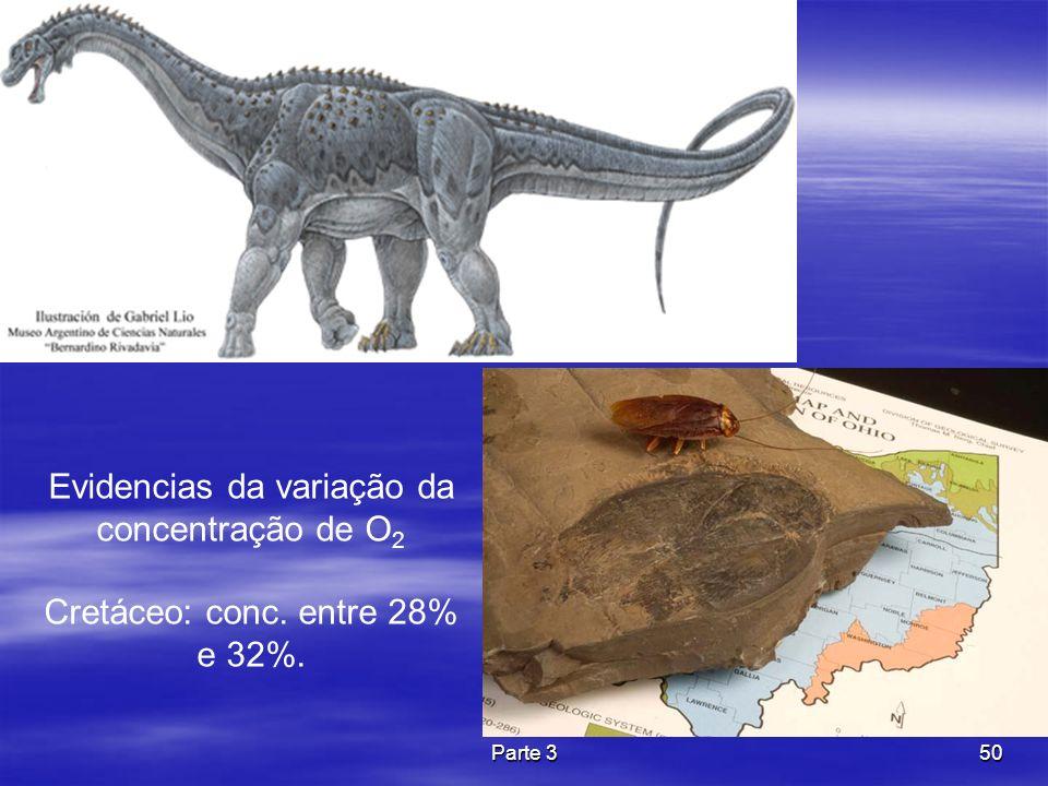 Parte 350 Evidencias da variação da concentração de O 2 Cretáceo: conc. entre 28% e 32%.