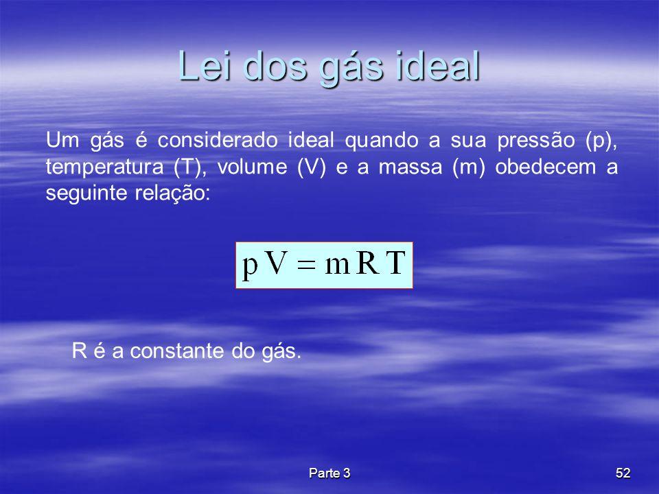 Parte 352 Lei dos gás ideal Um gás é considerado ideal quando a sua pressão (p), temperatura (T), volume (V) e a massa (m) obedecem a seguinte relação