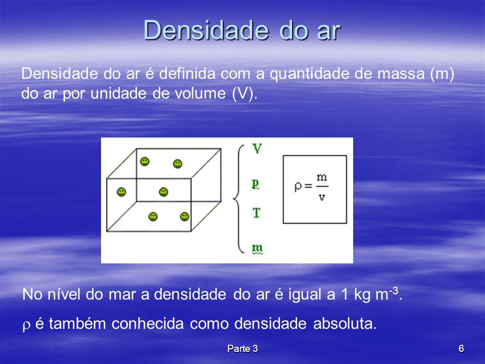 6 Densidade do ar No nível do mar a densidade do ar é igual a 1 kg m -3. é também conhecida como densidade absoluta. Densidade do ar é definida com a