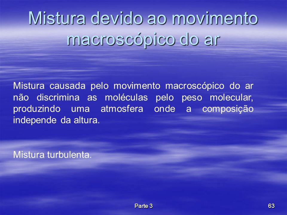 Parte 363 Mistura devido ao movimento macroscópico do ar Mistura causada pelo movimento macroscópico do ar não discrimina as moléculas pelo peso molec