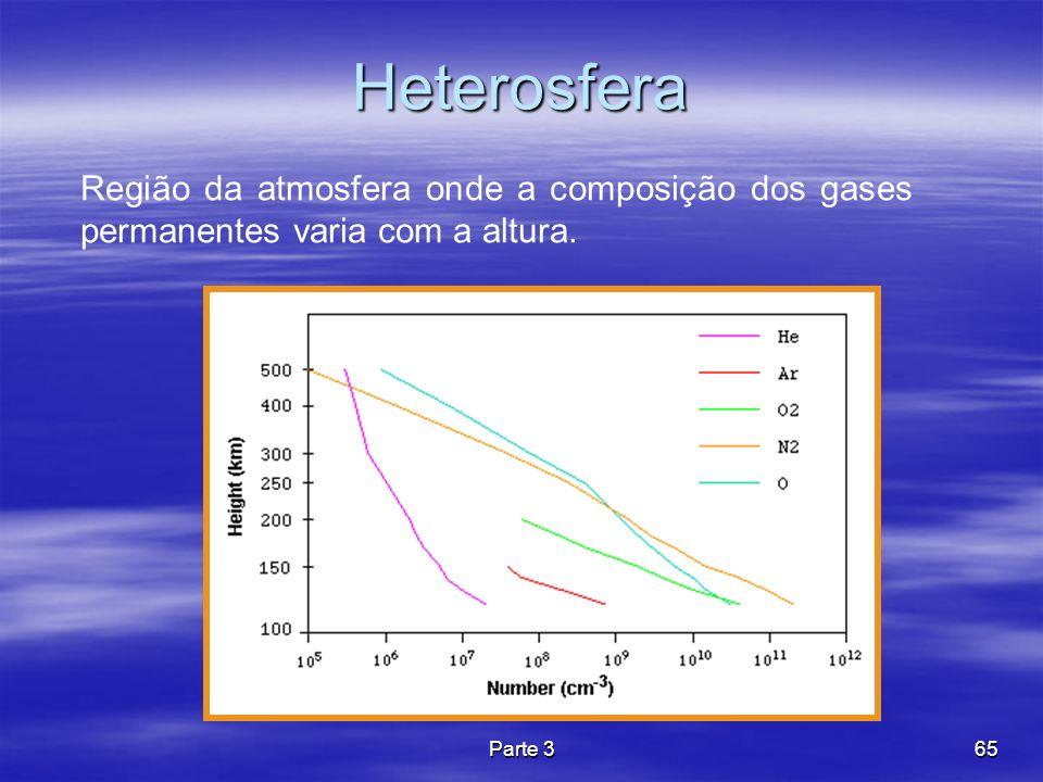 Parte 365 Heterosfera Região da atmosfera onde a composição dos gases permanentes varia com a altura.