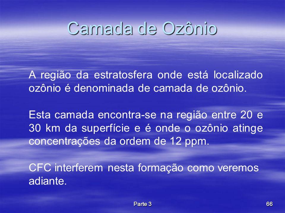 Parte 366 Camada de Ozônio A região da estratosfera onde está localizado ozônio é denominada de camada de ozônio. Esta camada encontra-se na região en