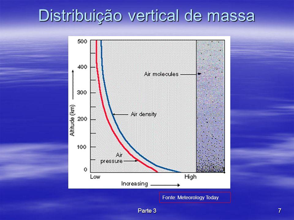Parte 38 Variação vertical de densidade Apesar de não existir um limite superior, a atmosfera estende-se a centenas de quilômetros na vertical, sendo que cerca de 99% da toda a sua massa está contida nos primeiros 30 km.