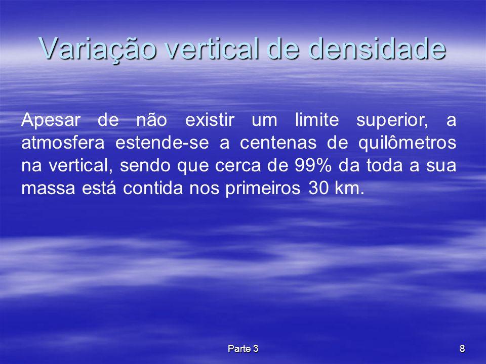Parte 38 Variação vertical de densidade Apesar de não existir um limite superior, a atmosfera estende-se a centenas de quilômetros na vertical, sendo