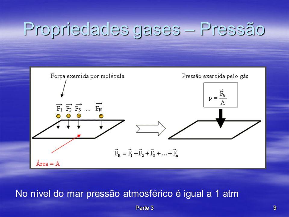 Parte 39 Propriedades gases – Pressão No nível do mar pressão atmosférico é igual a 1 atm