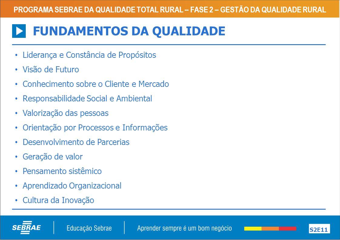 PROGRAMA SEBRAE DA QUALIDADE TOTAL RURAL – FASE 2 – GESTÃO DA QUALIDADE RURAL S3E11 SEM MÉTODO