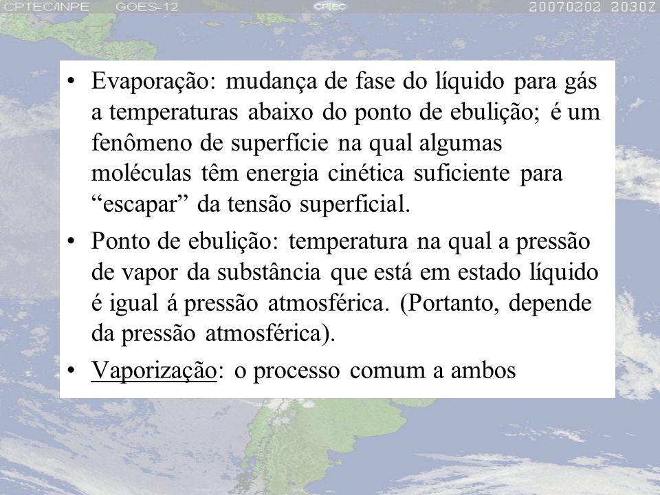 Evaporação: mudança de fase do líquido para gás a temperaturas abaixo do ponto de ebulição; é um fenômeno de superfície na qual algumas moléculas têm