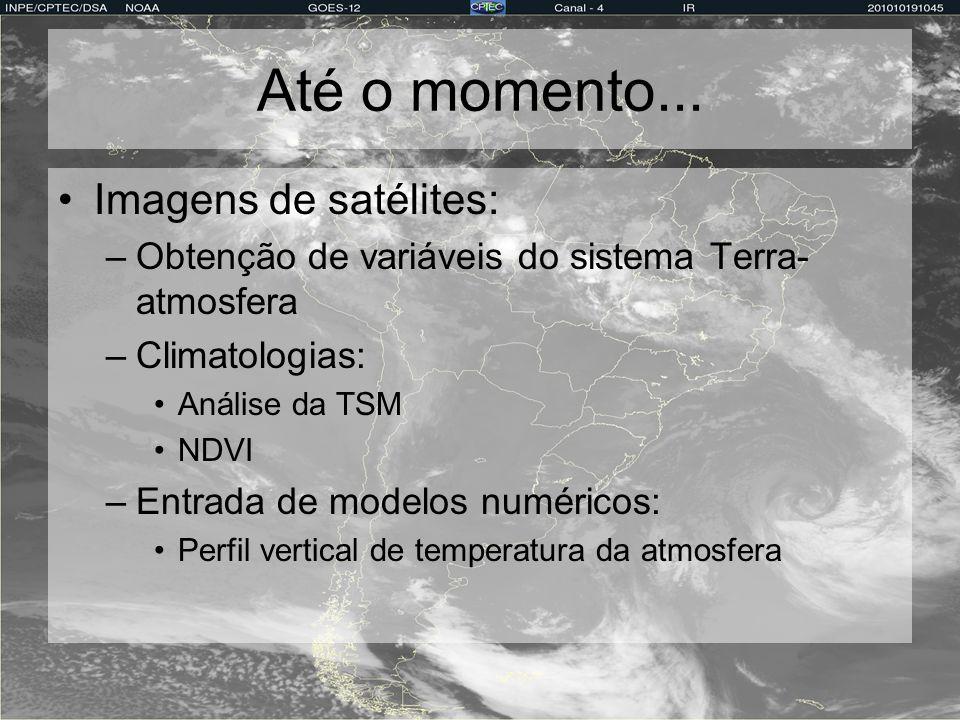 Até o momento... Imagens de satélites: –Obtenção de variáveis do sistema Terra- atmosfera –Climatologias: Análise da TSM NDVI –Entrada de modelos numé
