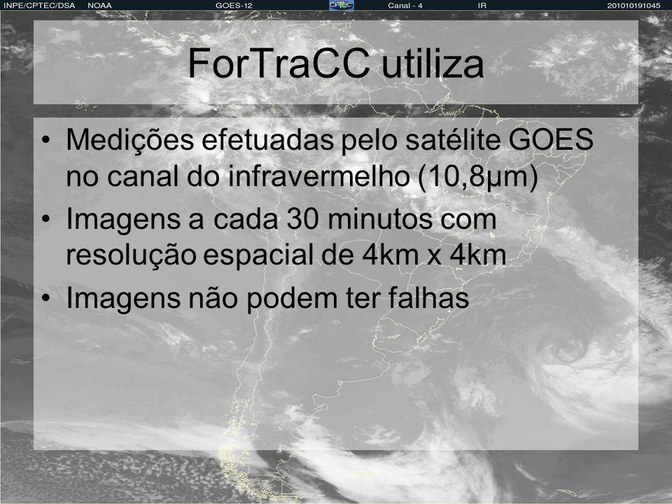 ForTraCC utiliza Medições efetuadas pelo satélite GOES no canal do infravermelho (10,8µm) Imagens a cada 30 minutos com resolução espacial de 4km x 4k