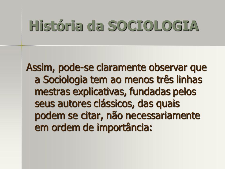 Assim, pode-se claramente observar que a Sociologia tem ao menos três linhas mestras explicativas, fundadas pelos seus autores clássicos, das quais po