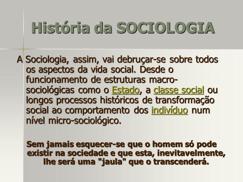 A Sociologia, assim, vai debruçar-se sobre todos os aspectos da vida social. Desde o funcionamento de estruturas macro- sociológicas como o Estado, a