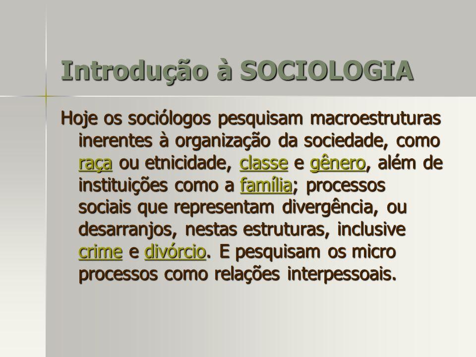 Hoje os sociólogos pesquisam macroestruturas inerentes à organização da sociedade, como raça ou etnicidade, classe e gênero, além de instituições como