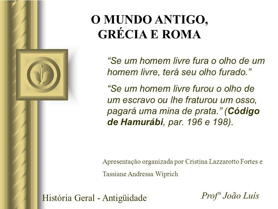 História Geral - Antigüidade Profº João Luís Grécia A cidade não podia depender da justiça do cadi, como nas aldeias.