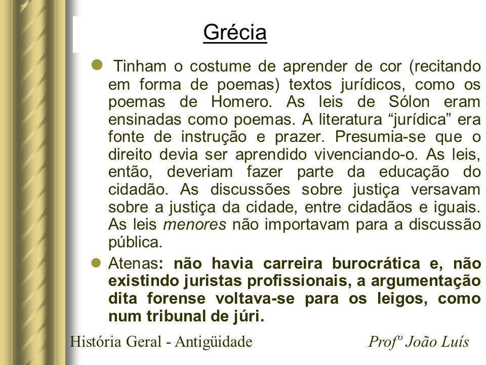 História Geral - Antigüidade Profº João Luís Grécia Tinham o costume de aprender de cor (recitando em forma de poemas) textos jurídicos, como os poema