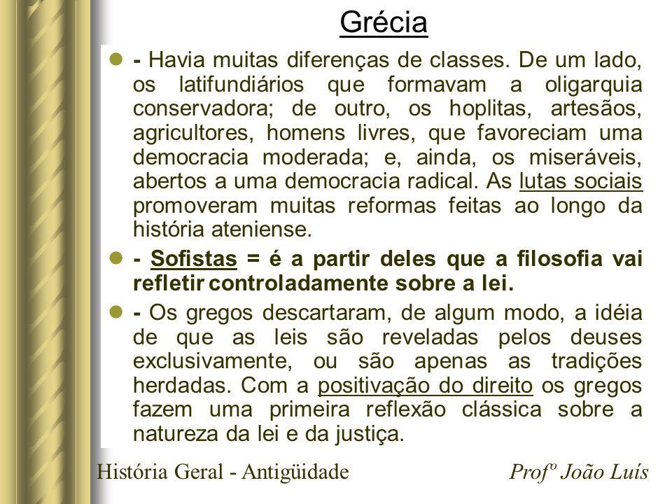 História Geral - Antigüidade Profº João Luís Grécia - Havia muitas diferenças de classes. De um lado, os latifundiários que formavam a oligarquia cons