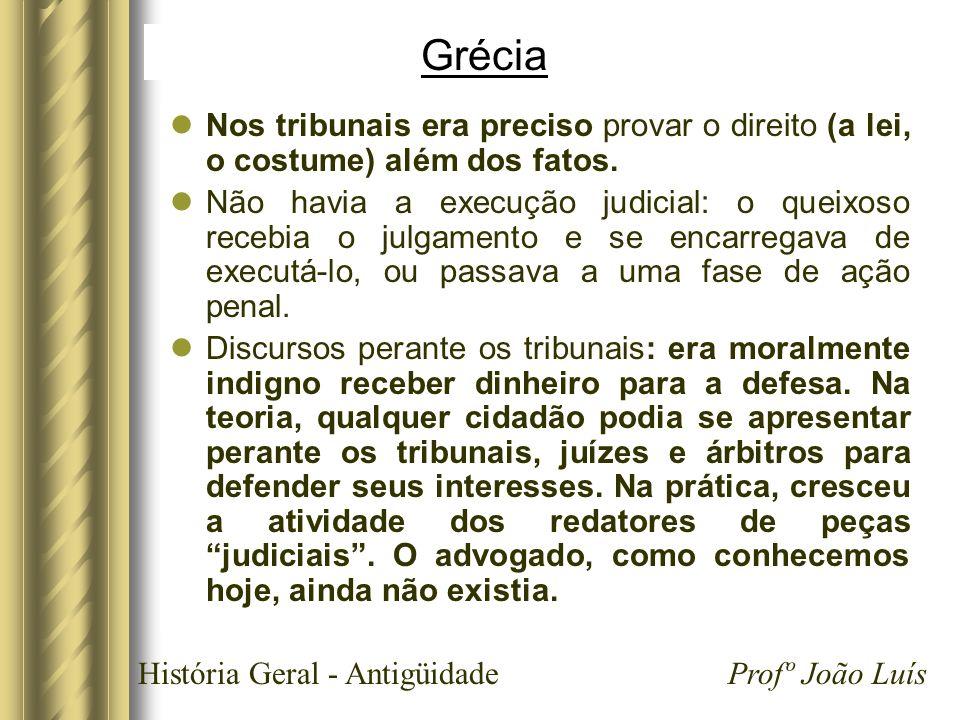 História Geral - Antigüidade Profº João Luís Grécia Nos tribunais era preciso provar o direito (a lei, o costume) além dos fatos. Não havia a execução