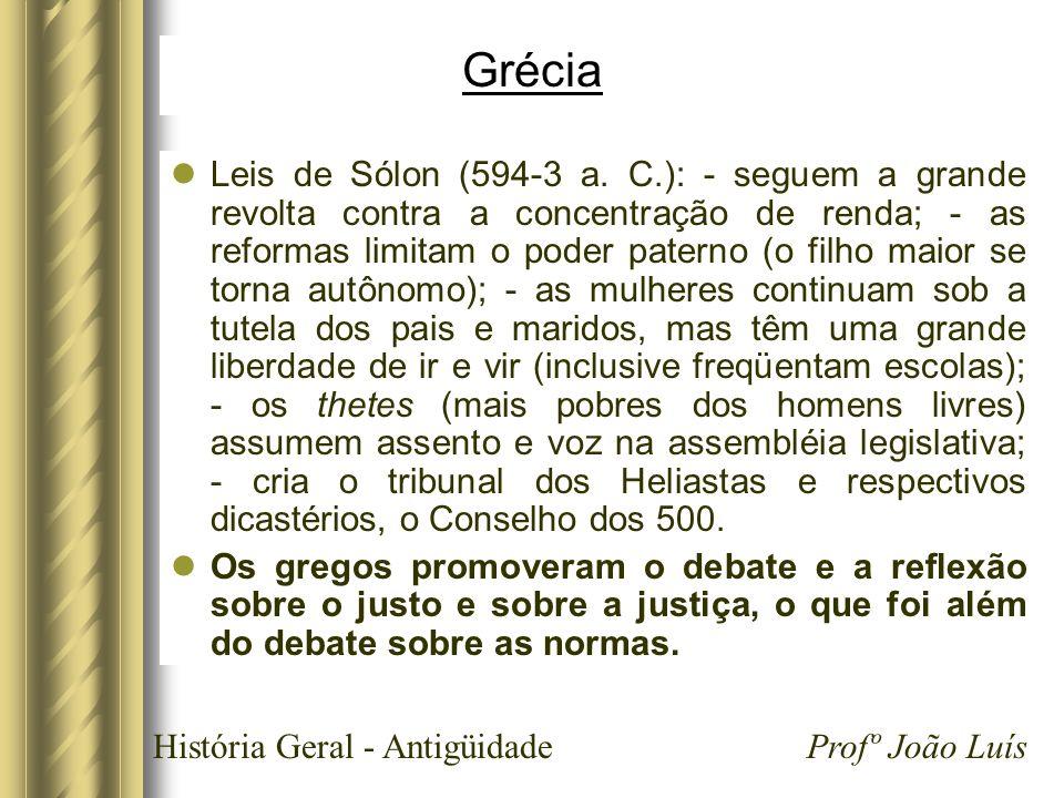 História Geral - Antigüidade Profº João Luís Grécia Leis de Sólon (594-3 a. C.): - seguem a grande revolta contra a concentração de renda; - as reform