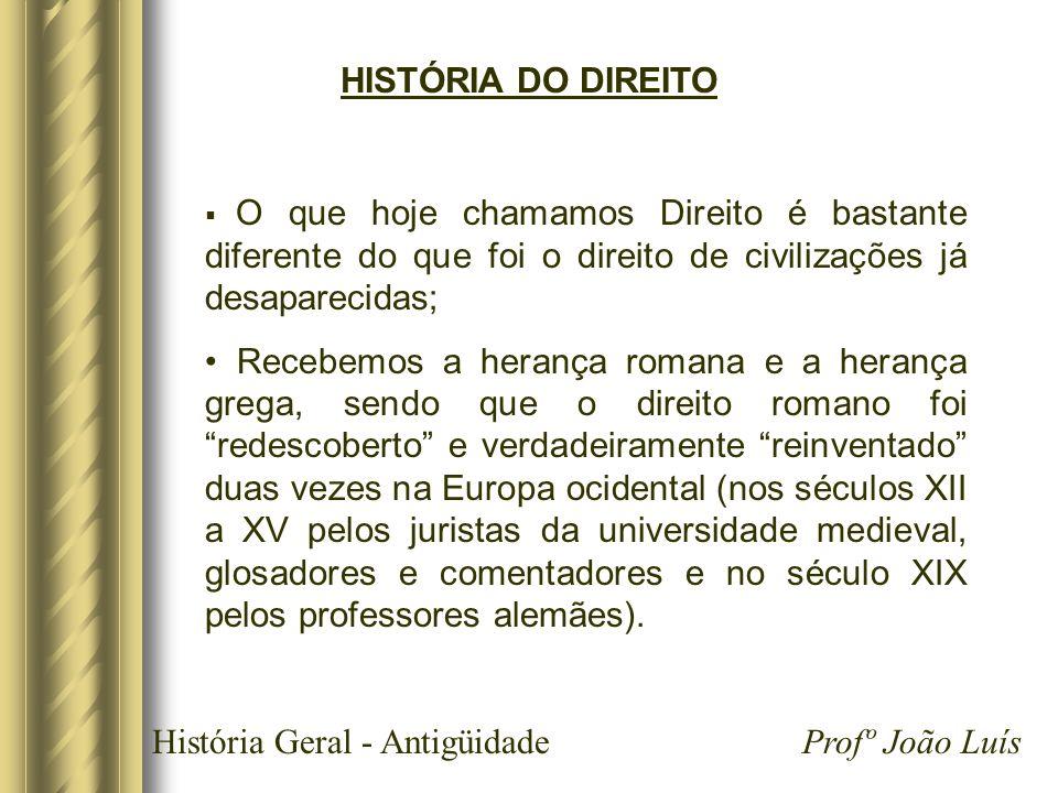 História Geral - Antigüidade Profº João Luís HISTÓRIA DO DIREITO O que hoje chamamos Direito é bastante diferente do que foi o direito de civilizações