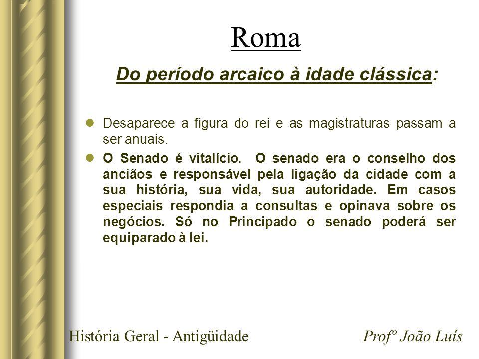 História Geral - Antigüidade Profº João Luís Roma Do período arcaico à idade clássica: Desaparece a figura do rei e as magistraturas passam a ser anua