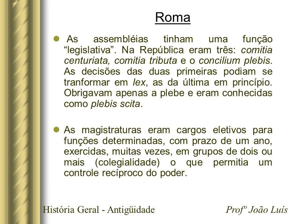 História Geral - Antigüidade Profº João Luís Roma As assembléias tinham uma função legislativa. Na República eram três: comitia centuriata, comitia tr