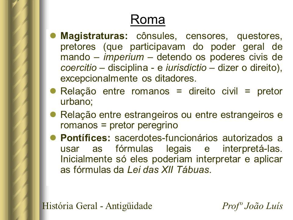 História Geral - Antigüidade Profº João Luís Roma Magistraturas: cônsules, censores, questores, pretores (que participavam do poder geral de mando – i