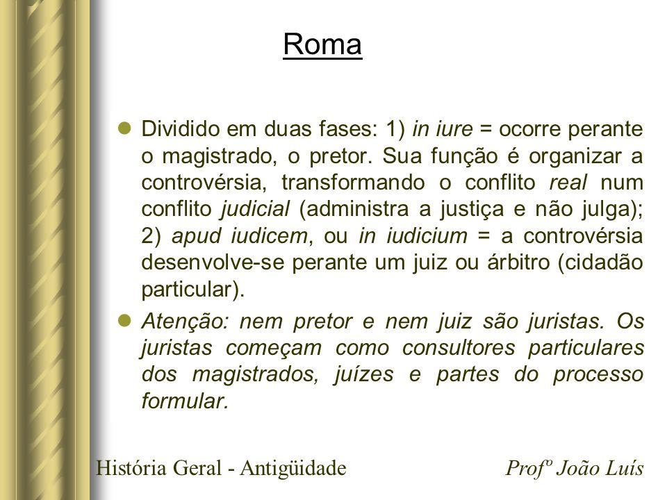 História Geral - Antigüidade Profº João Luís Roma Dividido em duas fases: 1) in iure = ocorre perante o magistrado, o pretor. Sua função é organizar a