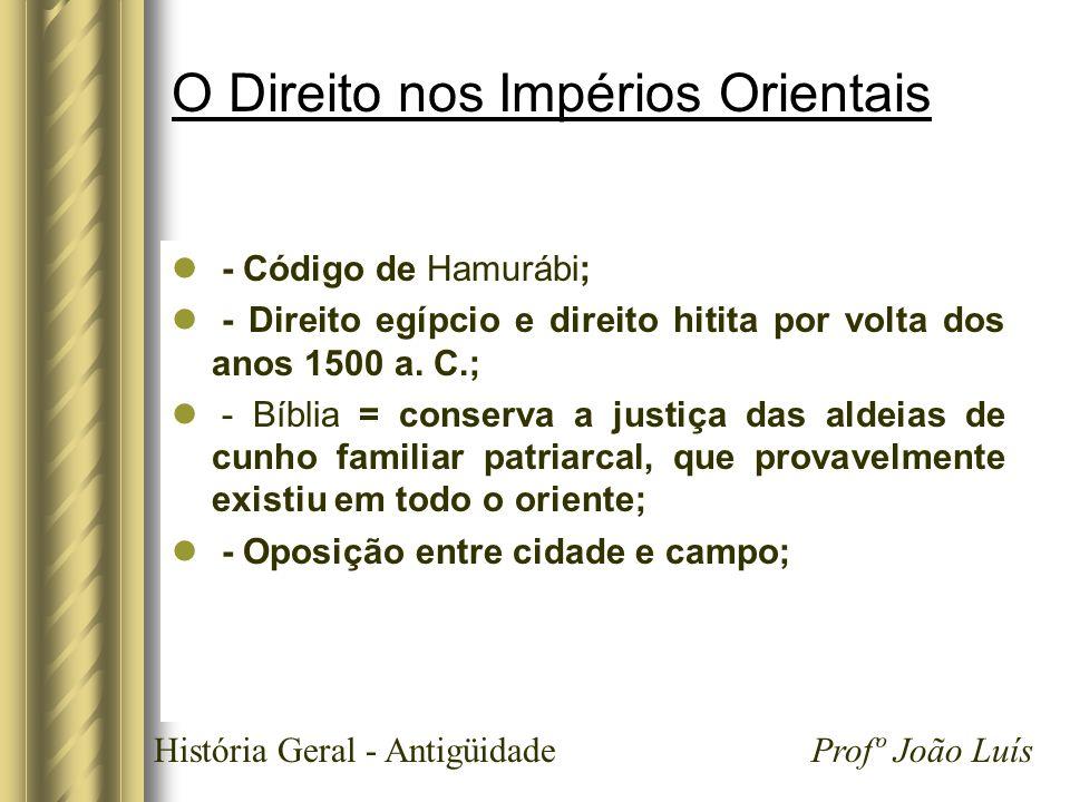 História Geral - Antigüidade Profº João Luís O Direito nos Impérios Orientais - Código de Hamurábi; - Direito egípcio e direito hitita por volta dos a