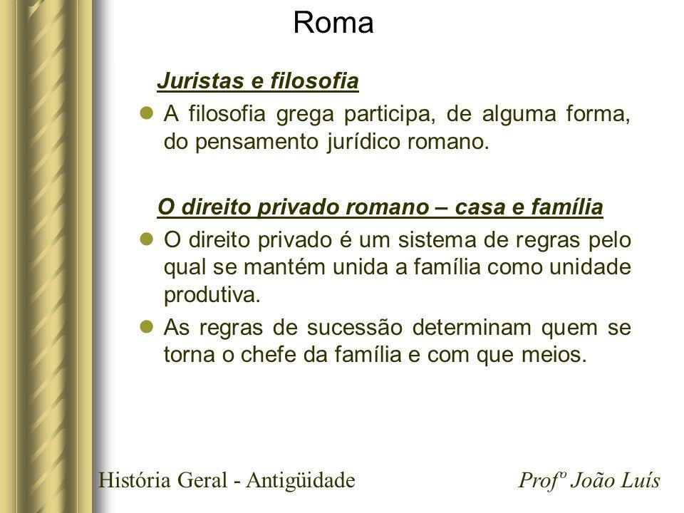 História Geral - Antigüidade Profº João Luís Roma Juristas e filosofia A filosofia grega participa, de alguma forma, do pensamento jurídico romano. O
