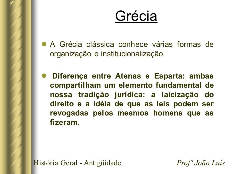História Geral - Antigüidade Profº João Luís Grécia A Grécia clássica conhece várias formas de organização e institucionalização. Diferença entre Aten