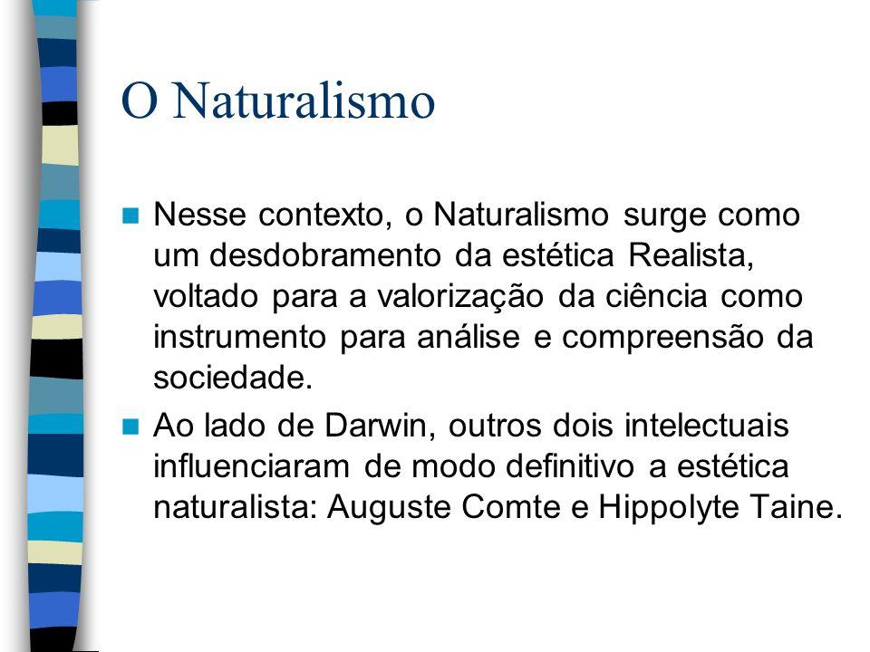 O Naturalismo Nesse contexto, o Naturalismo surge como um desdobramento da estética Realista, voltado para a valorização da ciência como instrumento p