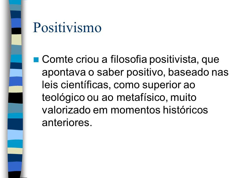 Positivismo Comte criou a filosofia positivista, que apontava o saber positivo, baseado nas leis científicas, como superior ao teológico ou ao metafís