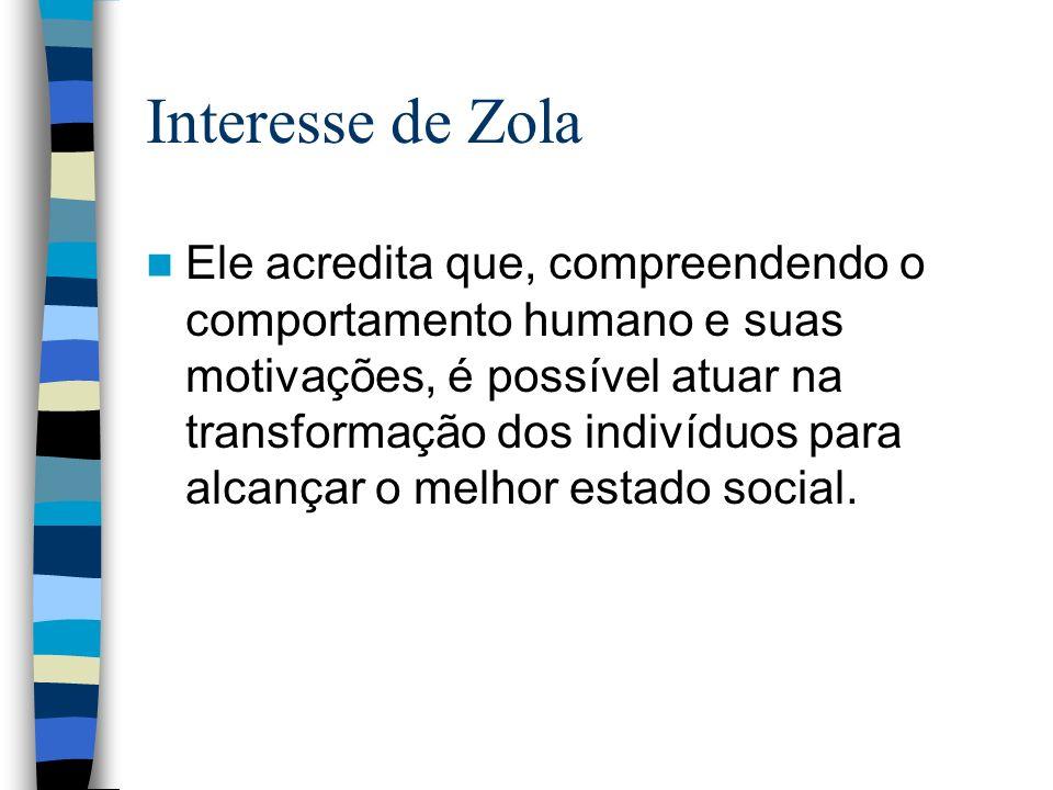 Interesse de Zola Ele acredita que, compreendendo o comportamento humano e suas motivações, é possível atuar na transformação dos indivíduos para alca