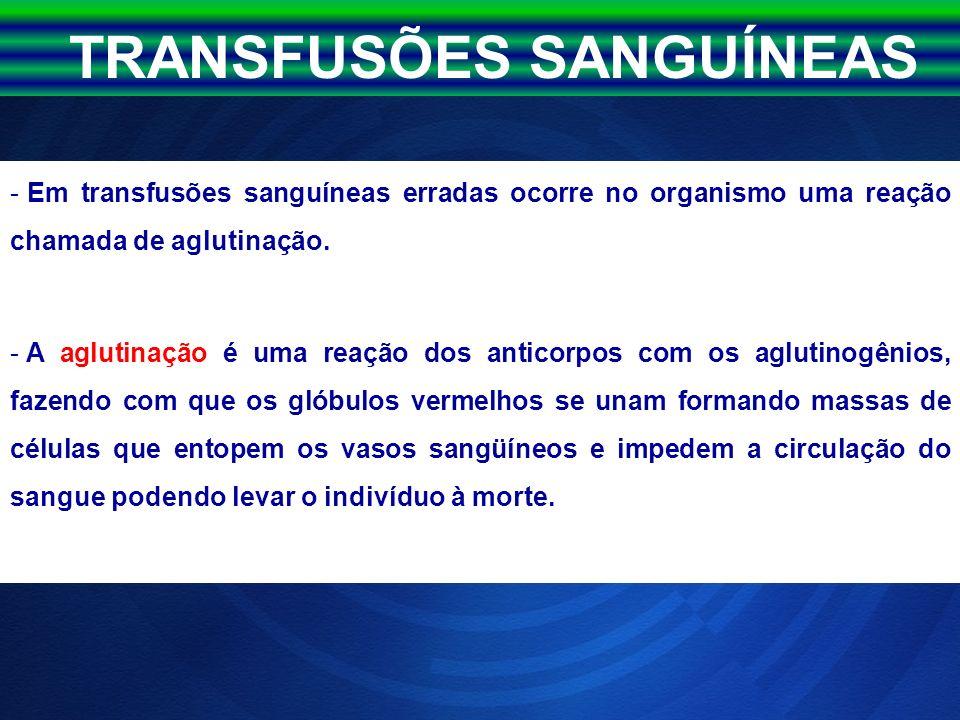 TRANSFUSÕES SANGUÍNEAS - Em transfusões sanguíneas erradas ocorre no organismo uma reação chamada de aglutinação. - A aglutinação é uma reação dos ant