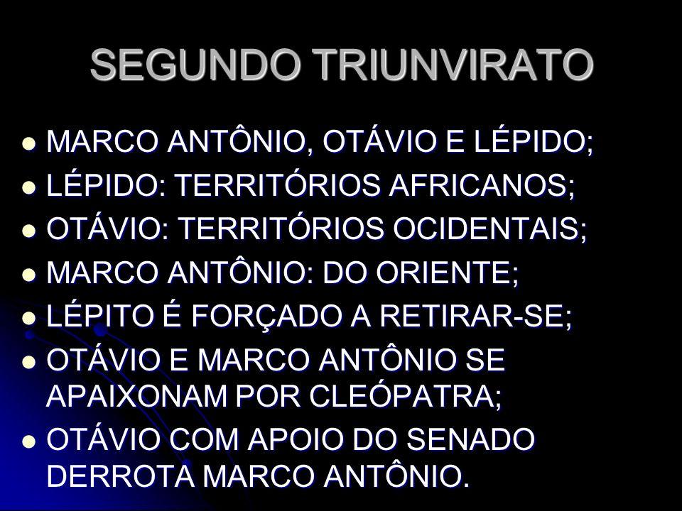 SEGUNDO TRIUNVIRATO MARCO ANTÔNIO, OTÁVIO E LÉPIDO; MARCO ANTÔNIO, OTÁVIO E LÉPIDO; LÉPIDO: TERRITÓRIOS AFRICANOS; LÉPIDO: TERRITÓRIOS AFRICANOS; OTÁV