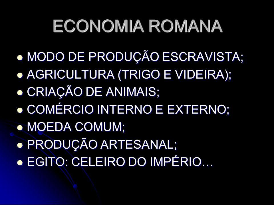 ECONOMIA ROMANA MODO DE PRODUÇÃO ESCRAVISTA; AGRICULTURA (TRIGO E VIDEIRA); CRIAÇÃO DE ANIMAIS; COMÉRCIO INTERNO E EXTERNO; MOEDA COMUM; PRODUÇÃO ARTE