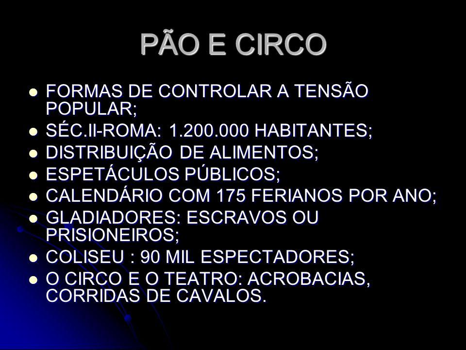 PÃO E CIRCO FORMAS DE CONTROLAR A TENSÃO POPULAR; SÉC.II-ROMA: 1.200.000 HABITANTES; DISTRIBUIÇÃO DE ALIMENTOS; ESPETÁCULOS PÚBLICOS; CALENDÁRIO COM 1